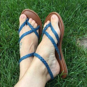 Mia, Blue Braided Strappy Sandal. EUC. Size 7